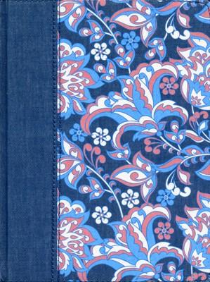 RVR60 de Apuntes Ilustrada (Tela - Rosado y Azul Floreada) [Biblia]