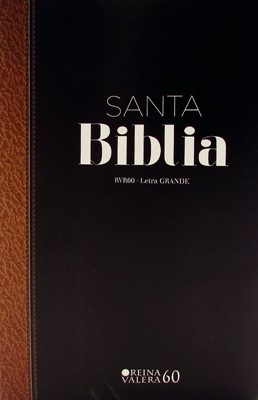 Biblia RVR60 Tamaño Manual Letra Grande con Índice Bicolor Negro Marrón