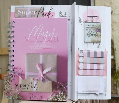 Paquete Libreta + Llavero + Notas Adhesivas - Mujer Virtuosa