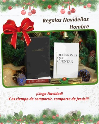 Biblia RVR Revisada Ultrafina Referencias Símil Piel Negro + Libro Decisiones que cuentan