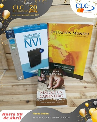 Biblia NVI Negro Imitación Piel + Operacion Mundo + Más que un Carpintero (Simil Piel) [Biblia]