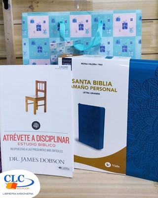 Biblia Letra Grande Turquesa + Atrévete a Disciplinar (Estudio) + Funda de regalo grande