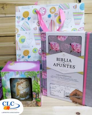 Biblia de Apuntes Rosa Gris + Taza Dara + Funda de regalo Grande