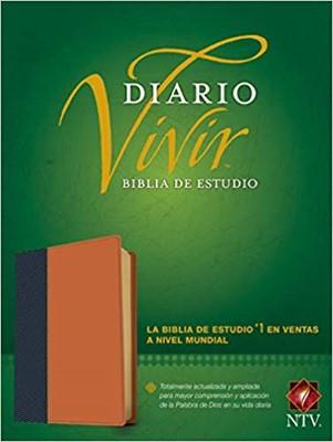 NTV Biblia de estudio del diario vivir (Piel especial Dos Tono, Chocolate, Azul) [Biblia]