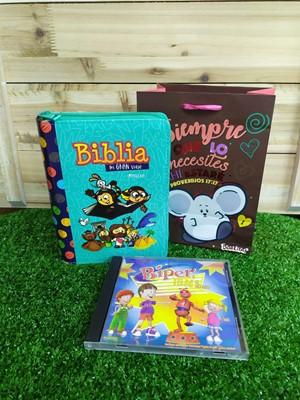 Biblia Mi Gran Viaje Verde + CD Biper y Tori el Robot + Funda de Regalo pequeña Borlitas