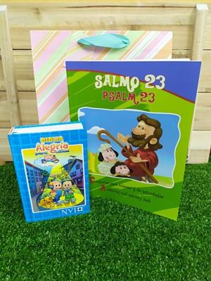 Biblia NVI Alegría Celeste + Libro para Colorear Salmo 23 + Funda de regalo Grande