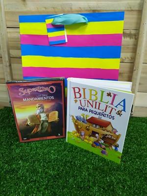 Biblia Unilit para Pequeñitos + DVD Super Libro + Funda de Regalo Grande