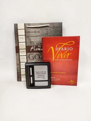 Biblia de Estudio Diario Vivir RVR60 + Set Libreta con bolígrafo + Funda de Regalo