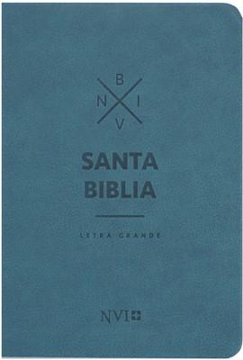 NVI Compacta Letra Grande (Cuero Ecológico - Azul) [Biblia]