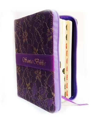 Biblia Rvr60 Lila Textil Floreada (Simil piel) [Biblia]