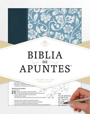 Biblia De Apuntes Azul Floral (imitación piel) [Biblia]