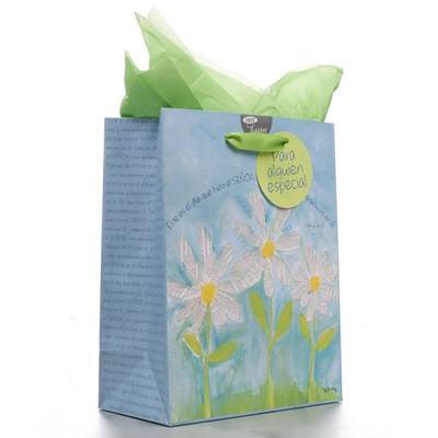 Bolsa de regalo mediana margaritas blancas