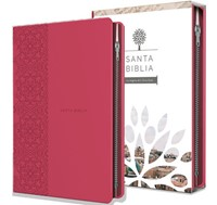 Biblia Tierra Santa Reina Valera 1960 letra grande. Símil piel fucsia