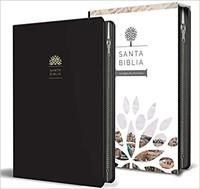 Biblia Tierra Santa Reina Valera 1960 letra grande. Símil piel negro, cierre.