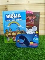Biblia para Todos los Niños + Rompecabezas caja Metálica + Funda de Regalo pequeña Borlitas