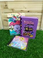 Biblia Mi Gran Viaje Lila + CD Biper Sueño de Princesa + Funda de Regalo pequeña Borlitas