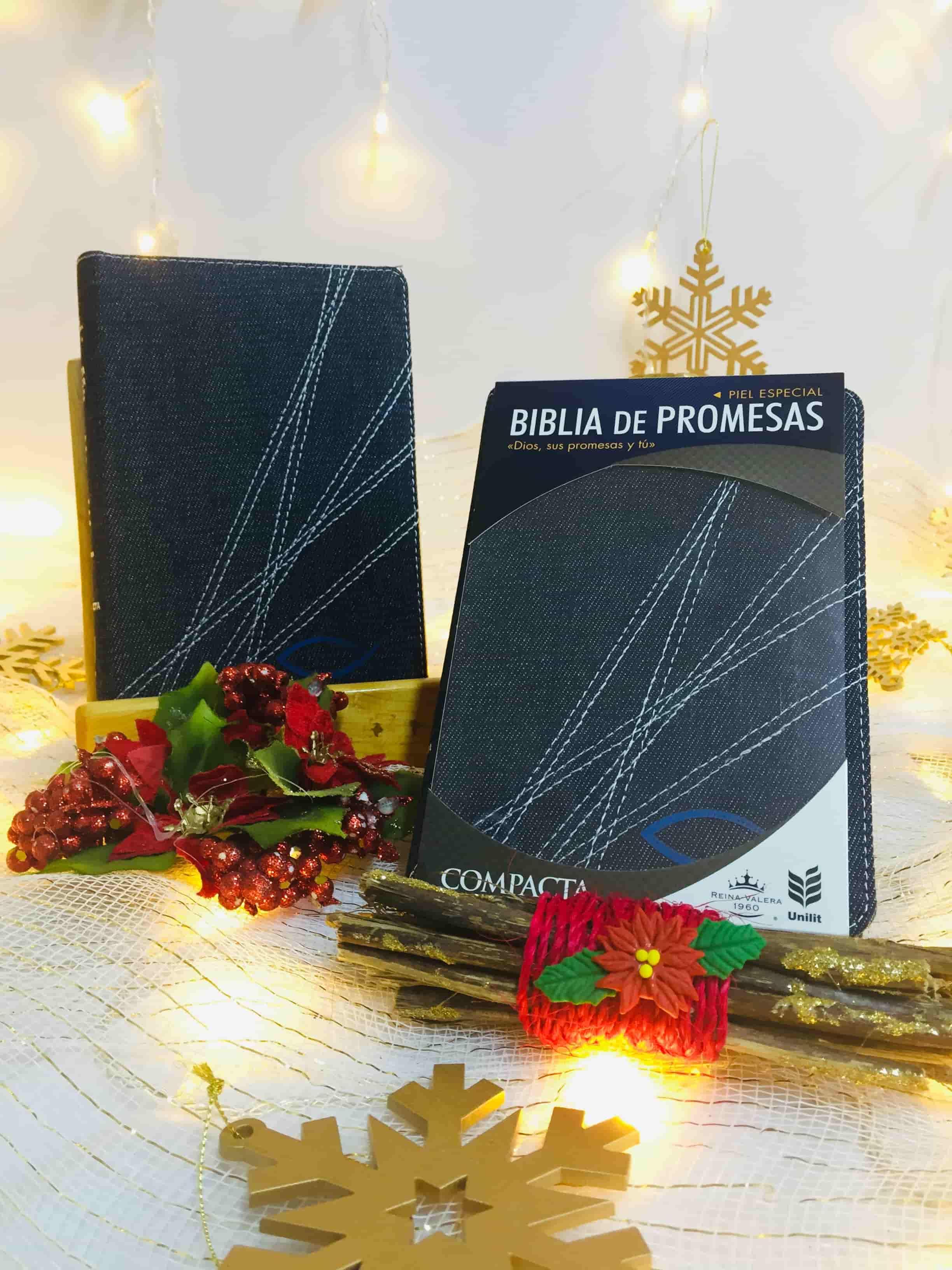 Biblia RVR Revisada Ultrafina Símil Piel Café/Negro + Agenda Diario de Promesas 2021