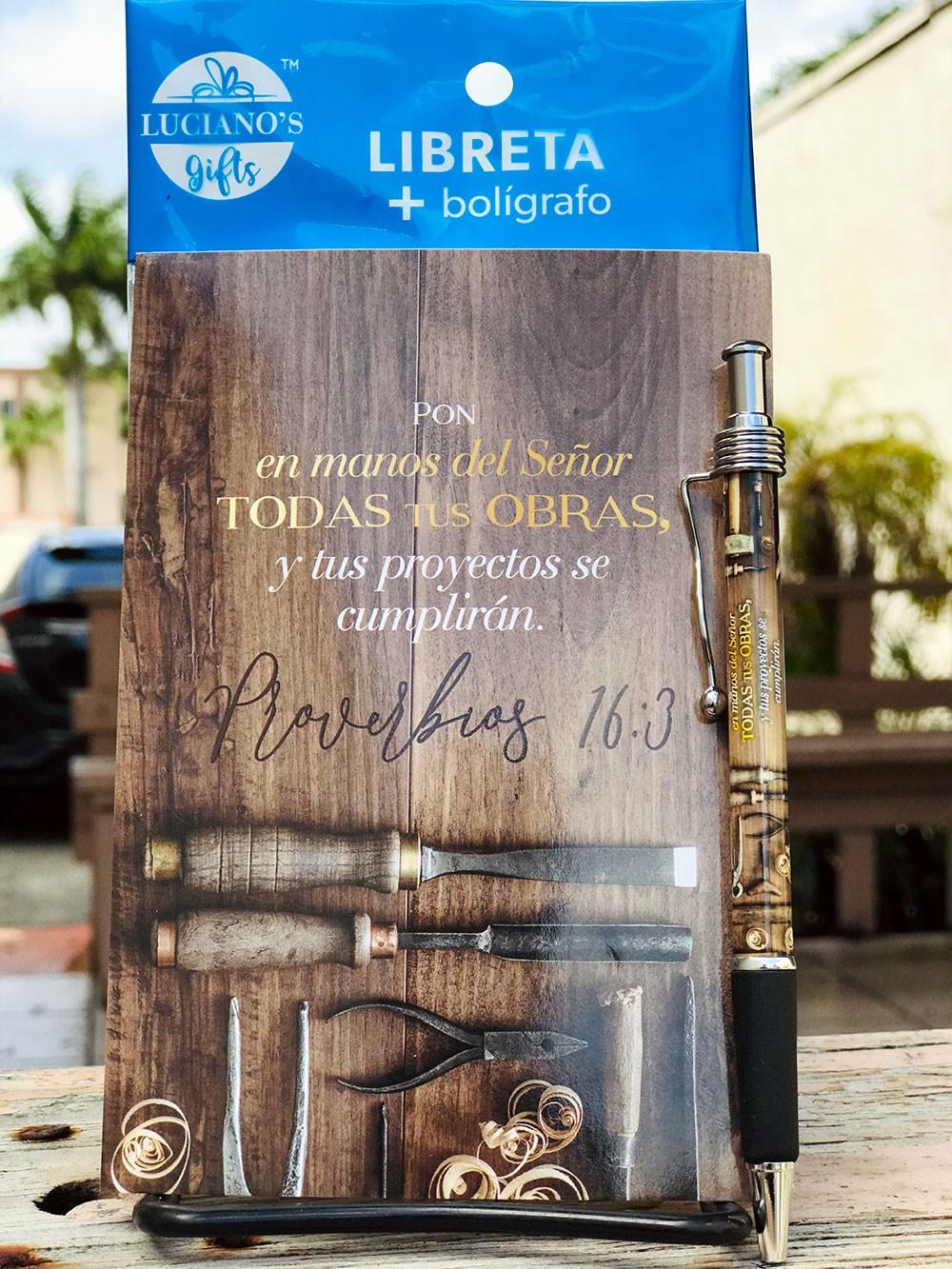 Libreta Pack + Bolígrafo Pon en manos Lucianos