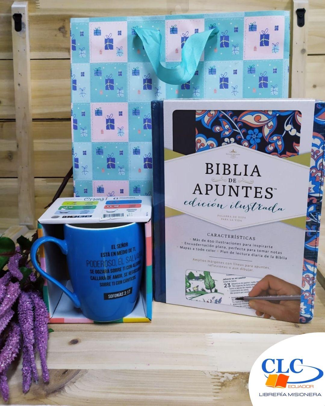 Biblia de Apuntes Flores Azul + Jarro Emoji + Funda de regalo Grande
