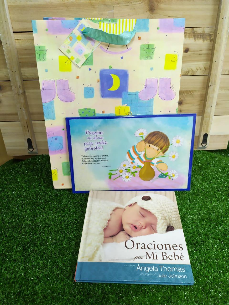 Oraciones por mi Bebé + Cuadro de Madera + Funda de Regalo Grande