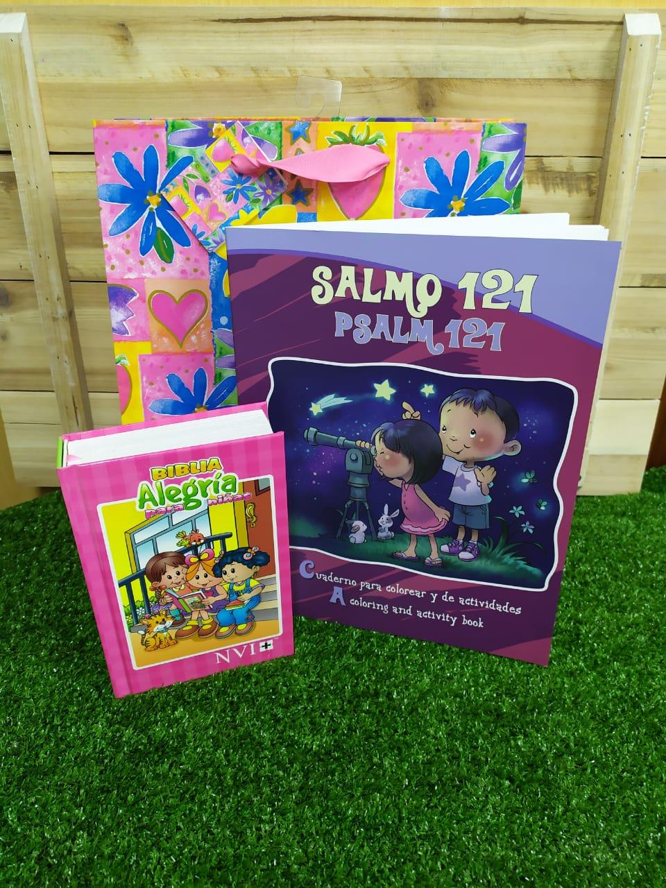 Biblia NVI Alegría Rosa + Libro para Colorear Salmo 121 + Funda de regalo Grande
