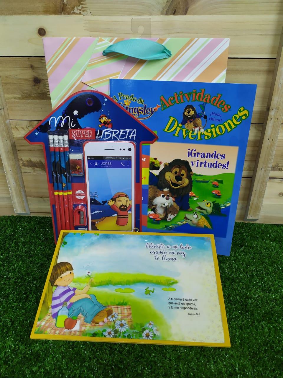 Mi Super Libreta Niño + Cuadro de Madera + Libro para Colorear Grandes Virtudes + Funda de regalo grande