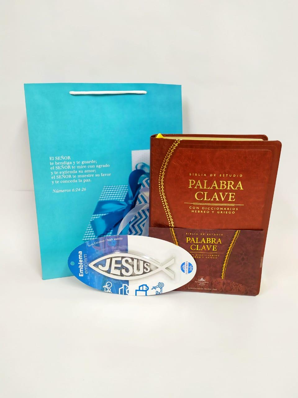 Biblia Palabra Clave Marrón + Emblema de auto Pez Grande + Funda de Regalo