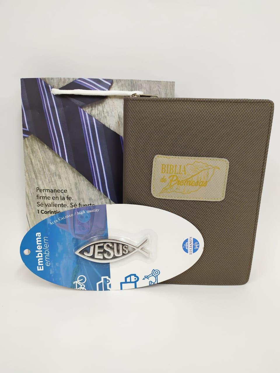 Biblia de Promesas Cierre + Emblema de Auto Pez Pequeño + Funda de regalo